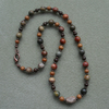 Jasper and Wood Beaded Necklace Antique Copper Tone