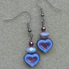 Vintage Blue Heart Czech Glass Drop Earrings