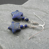 Natural Lapis Lazuli Stars Sterling Silver Earrings
