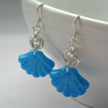 Blue Resin Shell and Chain Mail Earrings