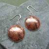 Dandelion Disc Copper Earrings With Sterling Silver Ear Wires