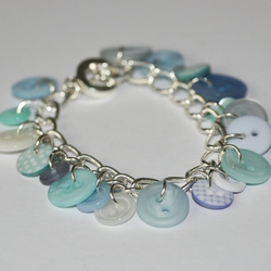 Ocean Blue Button Bracelet