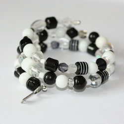 Black and White memory wire bracelet