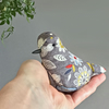Textile bird in a grey, white, leaf printed fabric with lavender, free p&p UK