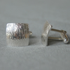 Sterling Silver Cufflinks with Bark Texture