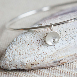 Circles and Pearls Silver Bangle