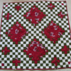 FURTHER REDUCED! Irish Chain Lap Quilt with Redwork Design on Reverse
