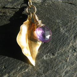 Handmade - AAA Amethyst and Gold Vermeil Leaf Necklace - Anu
