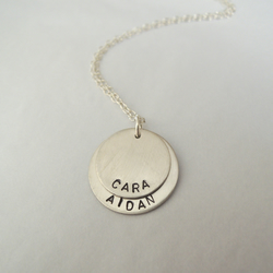 Custom made, personalised double name necklace