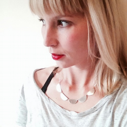 Semi circle necklace - Recycled silver geometric scallop hem necklace