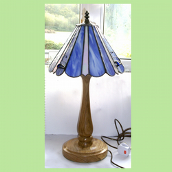 Wood and Stained Glass Turned oak table lamp with Stained Glass shade