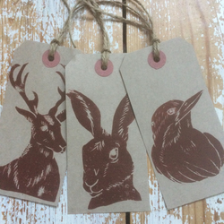 Hand Printed wildlife gift tags
