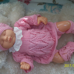Newborn Baby Hand Knitted Outfit preemie 100% Cotton coming home outfit 14-16 in