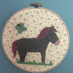 Purple Horse Embroidery Hoop Picture