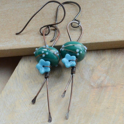 Handmade Copper & Teal Green Blue Lampwork Glass Bead Earrings