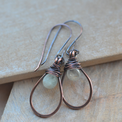 Copper Earrings with Aquamarine Gemstone Briolettes