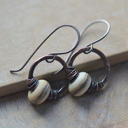 Cream Lampwork Glass Bead and Copper Earrings