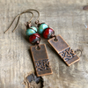 Red & Turquoise Copper Drop Earrings