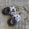 Lavender Czech Glass & Moonstone Cluster Earrings