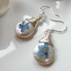 Ivory Freshwater Pearl Briolette Earrings with Forget Me Not Flower