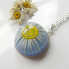 Real Daisy Blue Necklace High Domed Resin - Nature Specimen - DAISY