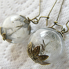 Reserved Real Dandelion Seeds Glass Globe Earrings - MAKE A WISH