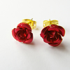 Dainty Red Rose Earrings - ROSES ARE RED