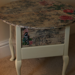 Vintage Decoupaged Sewing Box Table