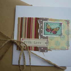 'With Love'  Large Pale Green Dots Butterfly Card