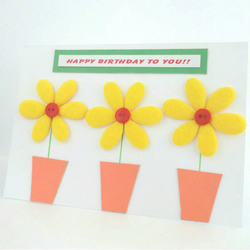 Yellow Flowers and Red Buttons Birthday card.