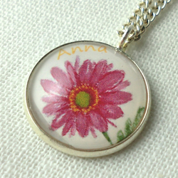 Personalised Art Pendant Necklace Pink Flower