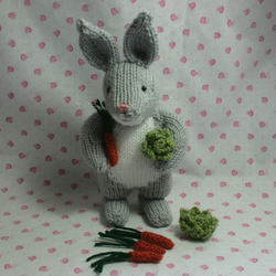 Little Grey And White Rabbit With Lettuce And Carrot