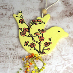 Hanging Bird Decoration - Yellow Blossom