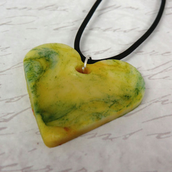 Polymer Clay Heart Pendant Necklace - Green and Yellow Heart