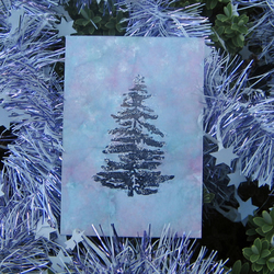 Pack of 4 Mini Xmas Cards - Trees