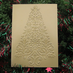 Xmas Card Pack of 5 - Gold Tree
