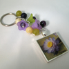 Bag Charm or Key Chain Purple and Yellow Flowers