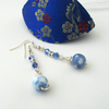 Blue Gemstone and Crystal Earrings with Gift Box