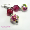 Pink and Green Flower Earrings