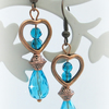 SALE Turquoise and Copper Heart Earrings