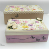 Hand Decorated Wooden Box with Gift Box Wild Flowers