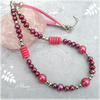 Magenta Pink Pearl Necklace