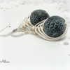 Black Crackle Wire Wrapped Earrings Sterling Silver