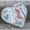 Christmas Winter Hare with Stocking Heart Decoration