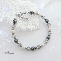 Black and White Bracelet with Swarovski ™ Crystal Pearls, Gift Boxed
