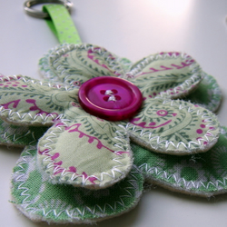 Green Flower Key Ring