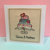 Personalised Wedding Card - Embroidered Wedding Cake - Shabby Chic Card