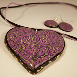 purple heart necklace and earring set, polymer clay millefiori