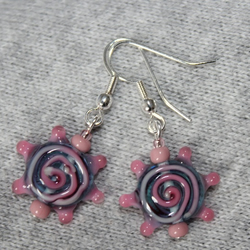 Glass spot and swirl earrings