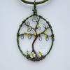 Tree of life with daisies, pendant necklace, unique wearable wire art